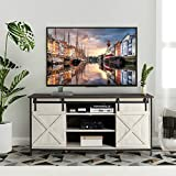 AILEEKISS TV Stand for TVs Up to 65' Entertainment Center Television Stands with Sliding Barn Door Farmhouse TV Stands Cabinet Storage Cabinet with Adjustable Shelves for Living Room (White&Brown)