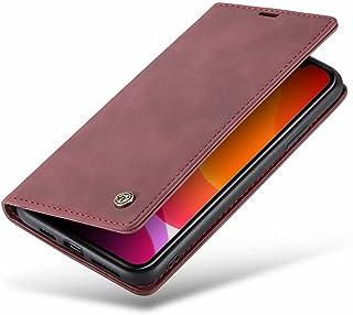 DoAo vivo Y52s t1 Case Genuine Leather Wallet Case Card Holder Shockproof Flip Cover Magnetic Flip vivo Y52s t1 cover-Wine...