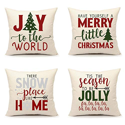 Christmas Pillow Covers 18x18 Set of 4 Red Green Winter Farmhouse Decor Holiday Saying Throw Cushion Case for Sofa Couch Home Decorations(Joy World, Merry Little Christmas, Snow Place,Season Jolly)
