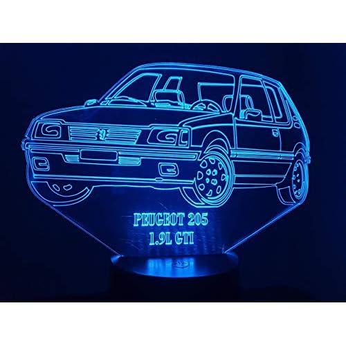 PEUGEOT 205 1.9L,Lampada illusione 3D con LED - 7 colori.