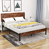 Amolife Queen Bed Frame with Wood Headboard/Heavy Duty Platform Metal Bed Frame with Footboard/Mattress Foundation/Strong Slat Support/Box Spring Needed Optional