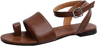 Floweworld Damen Flache Sandalen Mode Frauen Sommer Offene Spitze Strand Schuhe Atmungsaktive Flache Schnalle Sandalen Rom Einfache Hausschuhe
