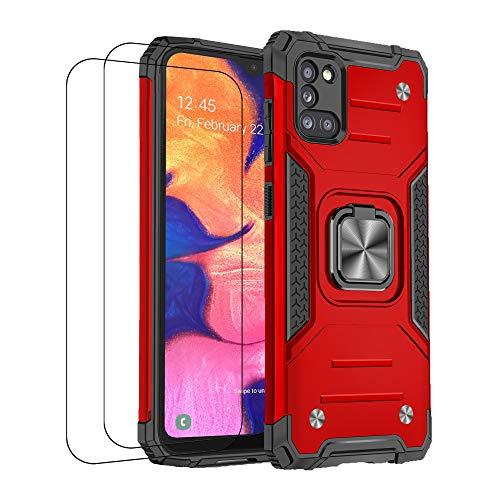 Funda compatible con Samsung A31 Case antigolpes, carcasa de silicona magnética, soporte accesorio de armadura antideslizante, protección (Samsung A31, rojo)