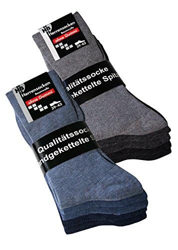 Herrensocken ohne Gummi Socken ohne Gummib& ohne Gummizug für Herren Gr 47-50, 10 Paar