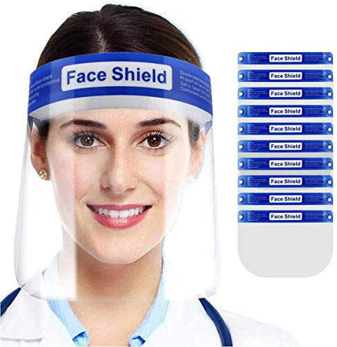Face Shield, 10 Pack Clear Mask with Glasses for Kids and Adult, Anti-Fog Reusable Plastic Safety Face Shield No Installation Required with Comfortable Sponge and Elastic Band for Women Men