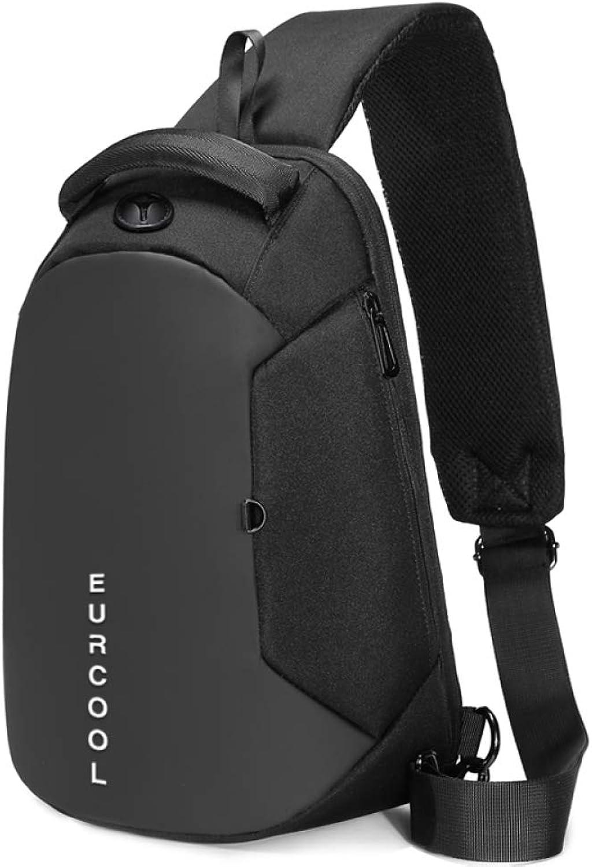HEQC Mnner Oxford Textile Brusttasche, Crossbody Umhngetasche Sling Taschen Daypack Für Sport Wandern Reise Schwarz,schwarz-OneGröße