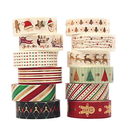 VegKey Christmas Washi Tape Pack Washi Tape Set with Foil 12 Rolls Aesthetic Craft Tape, Great for DIY, Bullet Journal, Calendar, Gift Wrapping, Scrapbooking