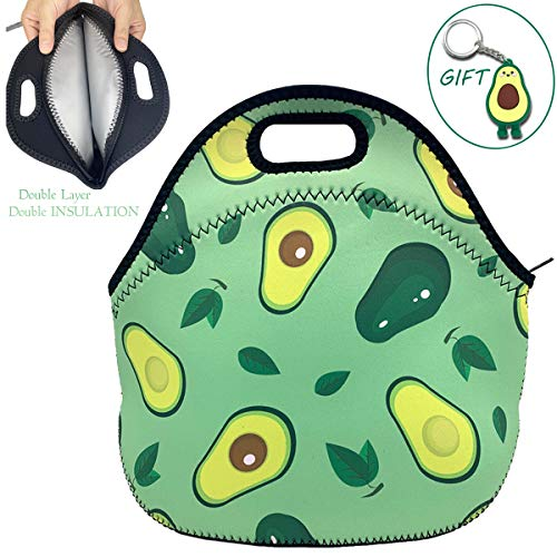 Leakproof Lunch Bag, CottBelle Double Layer Neoprene Insulated Lunch Bag Reusable Cooler Thermal Meal Tote for School/Office/Outdoor for Girls, Boys, Women, Men (Avocado)
