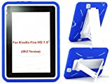 Amazon Kindle Fire HD Case 7 inch (2012 Version) [NOT for Fire HDX 7] Heavy Duty Hard Hybrid Protective Air Cushion Horizontal & Vertical View Kickstand Tablet Case Cover (Blue/White)