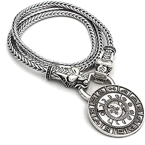 SJJMYM Collar De Cabeza De Lobo Vikingo 3D Mitología Nórdica Dios del Sol Mjolnir Colgante Joyería Amuleto Pagano Nórdico,80CM