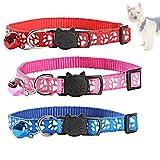 Haokey 3 Stücke Halsband Katze, Katzenhalsband mit Glocke und Sicherheitsschnalle Verstellbar Elastisches Katzenhalsband für Katzen oder kleine Hunde(Rot, Blau, Rosa)