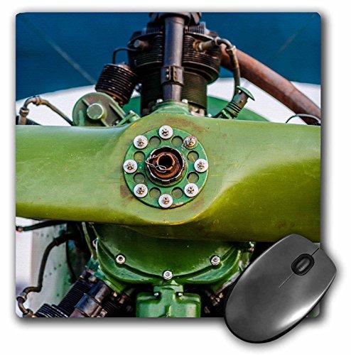 3drose muismat groen hout propeller en een stervormige motor van een vintage vliegtuig, 20,3 x 20,3 cm (MP 272025 1)