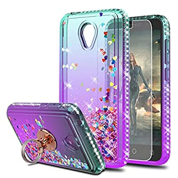 Alcatel Verso/IdealXCITE/CameoX/Ideal Exite Phone/5044R Case with HD Screen Protector with Ring Holder,KaiMai Moving Quicksand Clear Cute Shiny Girls Women Phone Case for 5044R-Aqua/Purple Ring