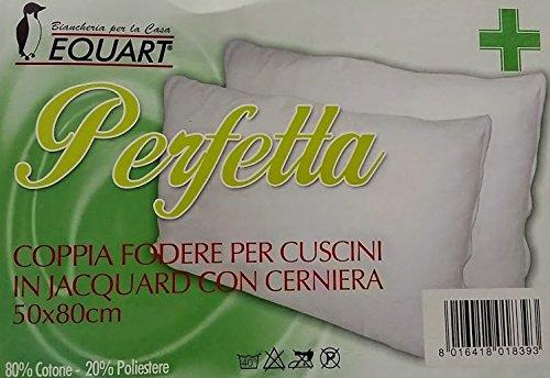 EQUART Coppia Federe 50x80 Cotone Jaquard Spugna Multiestensibile per due cuscini/guanciali
