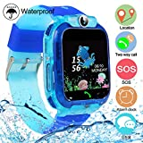 bhdlovely Montre LBS Enfant Connectee Smartwatch Etanche pour Fille Garcon Tracker Kids SOS Telephone Blue