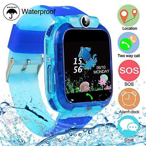 Kids Smartwatches, SZBXD Waterproof LBS/GPS Tracker Phone SOS Touchscreen Smartwatch Games Clock Smart Watch Christmas Birthday Gifts for School Boy Girls (Blue)