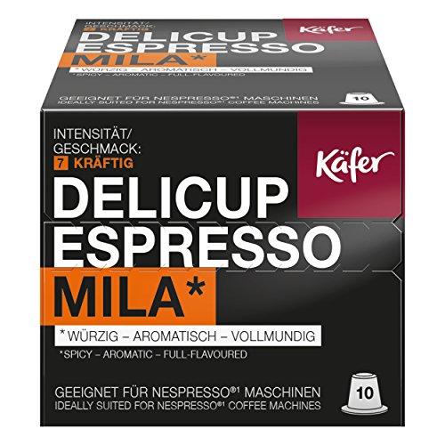 Käfer Delicup Espresso Mila Kaffeekapsel, Kapsel, Würzig-Aromatisch, Geeignet für Nespresso-Maschinen, 50 Kapsel à 5,2 g