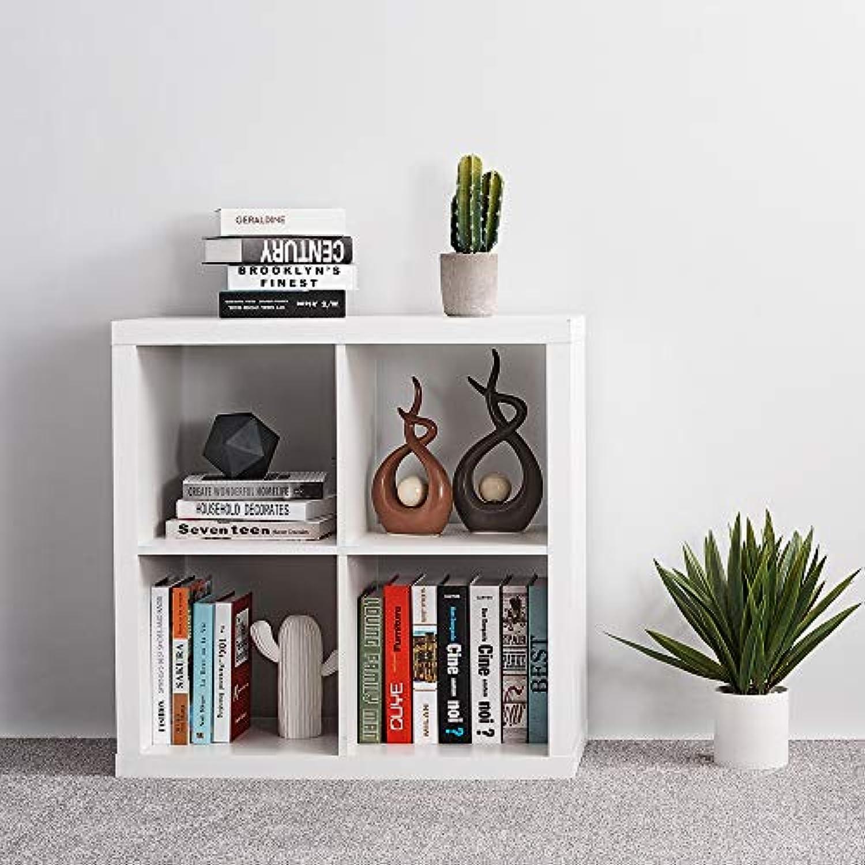 Ruication Bücherregal aus Holz mit 4 Fchern, Aufbewahrungseinheiten, Moderne Schrnke, Regale für Schlafzimmer, Wohnzimmer, Büro, Schwarz wei