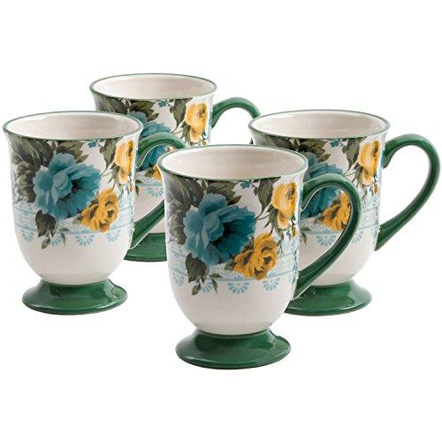 The Pioneer Woman Rose Shadow 18-Ounce Latte Mug Set, Set of 4