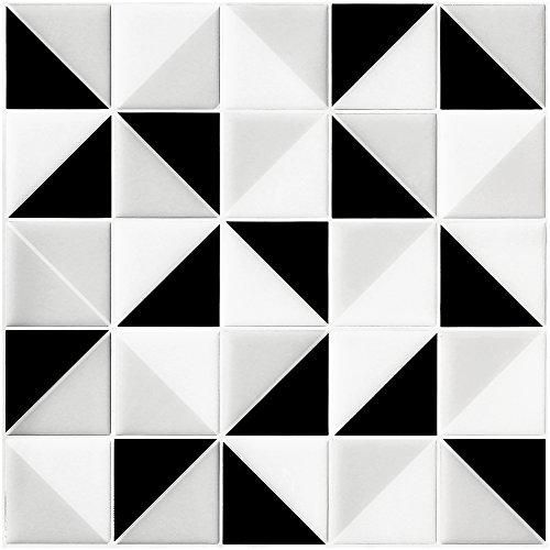 Ecoart 6 Piezas Decorativos Adhesivos para Azulejos Pegatina de Pared, Azulejos de Gel, Diseño de Mosaico Triángulo, Efecto 3D, Cenefa Autoadhesivo