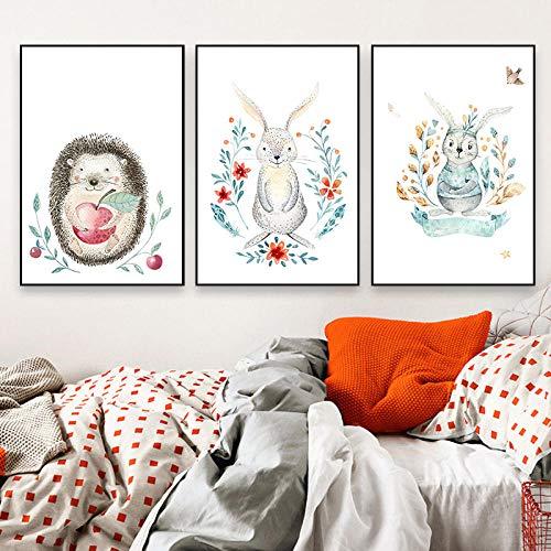 Empty SJLAQ Kinderzimmer Dekor Kinderzimmer Wandkunst Poster und Drucke Cartoon Tiermalerei Leinwand Bild-40x60cmx3 Stück kein Rahmen
