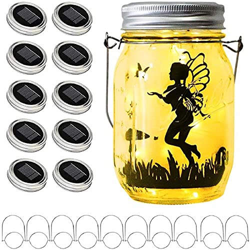Upgraded Solar Mason Jar Lid Lights, 10 Pack 30 LED Fairy Star Firefly String Lids Lights Including (10 pcs Hangers),for Wedding Patio Garden Party Decorations (No Jars)