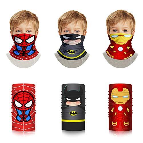 Superheroes Bandana Shield - Cosplay Cloth Face Tube Neck Gaiter Washable Cotton Spider Bat Pattern for Kids