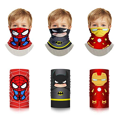 Superheroes Bandana Shield - Cosplay Cloth Face Tube Neck Gaiter Washable Cotton Spider Bat Pattern for Kids
