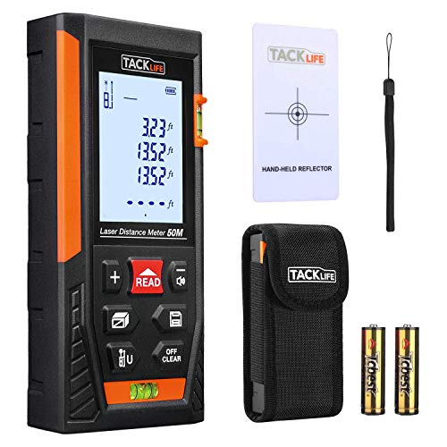 Tacklife HD50 Classic Laser Measure 164Ft M/In/Ft Mute Laser Distance Meter with 2 Bubble Levels, Backlit LCD and Pythagorean Mode, Measure Distance, Area and Volume - Carry Pouch and Battery Included