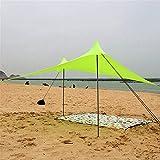 <span class='highlight'><span class='highlight'>JHKGY</span></span> Family Beach Sunshade - Sun Shade Canopy | UPF50 UV Protection | Tent with 2 Lightweight Aluminum Poles, 4 Sandbag Anchors | Large & Portable Shelter Tarp -2 X 2.2M,Yellow