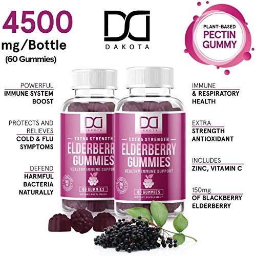Sambucus Elderberry Gummies with Zinc Vitamin C for Adults Kids for Black Elderberry Immune Support System Vitamins, Elderberry Extract Supplements - Alternative to Capsules Syrup Pills Tea (2 Pack)