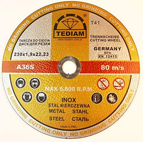 5 Stück Trennscheibe für Stahl 230 x 1,9 mm A30TBF INOX EN12413 Tediam Gold