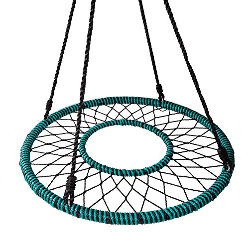 Play Platoon Spider Web Tree Swing with Open Center - Fully Assembled Tire Swing, 40 Inch Diameter, 600 lb Weight Capacity, Easy to Install