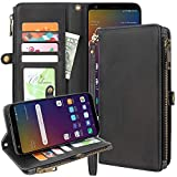Lacass Premium Leather Flip Zipper Wallet Case Cover Stand Feature with Card Holder and Wrist Strap for LG Stylo 5 / Stylo 5 Plus/Stylo 5V / Stylo 5X (2019) (Black)