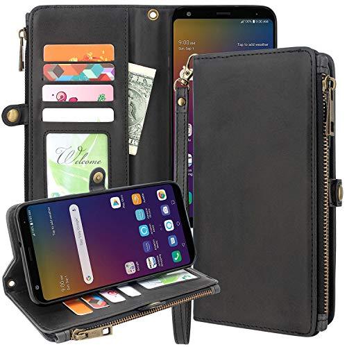 ZTE Blade Z Max Case, ZTE ZMax Pro 2 Case, ZTE Sequoia Case, Linkertech Premium Leather Flip Zipper Wallet Case Cover with Card Holder and Wrist Strap for ZTE Z982 (Zipper - Black)