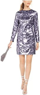 Vince Camuto Sequined Snake-Embossed Shift Dress Navy Multi Size 8 Medium
