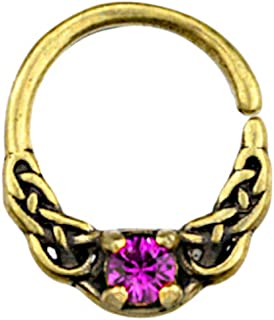 CHICNET Piercing universale per orecchio, naso, ottone anticato, oro e cristallo rosa, nodo celtico, motivo Nostril Septum...