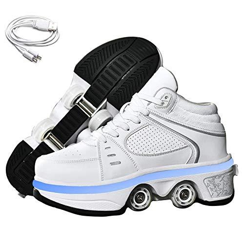 Dytxe 2 in 1 Mehrzweckschuhe Schuhe Mit Rollen Skateboardschuhe, Inline-Skate, Verstellbare Quad-Rollschuh Stiefel Skateboardschuhe Spaß LED-Beleuchtung
