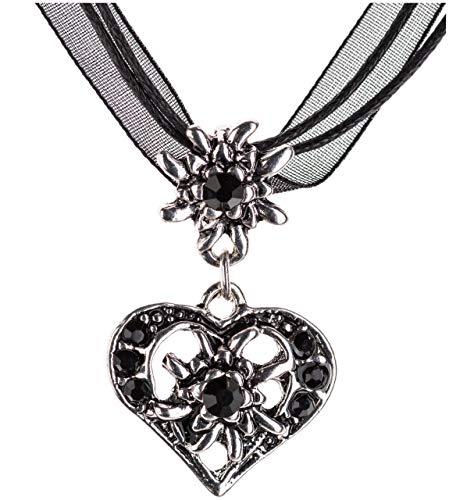Trachtenkette elegantes Herz mit Strass und Edelweiss Anhänger Trachtenschmuck Kette für Dirndl und Lederhose Damen in vielen Farben (Schwarz)