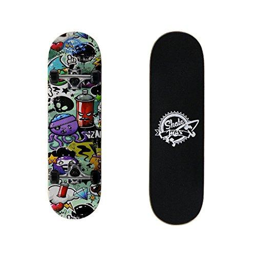 Skateboard Junior Completo di Ruote Engraved Skate Skatemax Colorato New