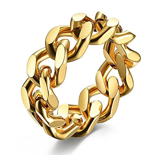 GXY&YT Herren Titanium Stahl Cuban Link Chain Ring Für Herren Curb Link Chain Ring Punk Fahrrad (Silber/Gold/Schwarz Ton),Gold,10
