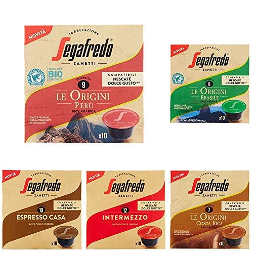 Segafredo - 60 Capsule Compatibili Dolce Gusto, Gusto Perù, Brasile, Costa Rica, Massimo, Espresso Casa e Crema Ricca - 6 Astucci da 10 Capsule