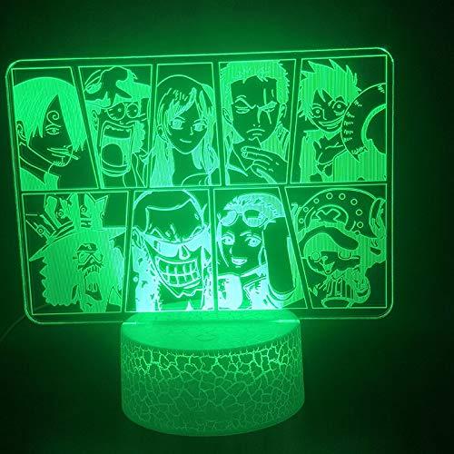 Lámpara 3D Sombrero de paja de una pieza Foto de grupo Mejor presente Ambiente para niños Color cambiante Lámpara de luz nocturna Led Usb