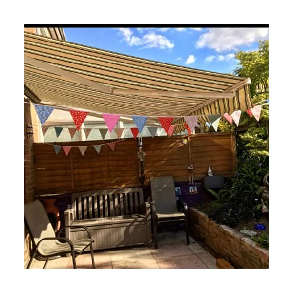 G2PLUS Large Fabric Bunting Banner, 32.8 Feet Triangle Flag Garland 36PCS Floral Pennants, Double Sided Vintage Cloth…