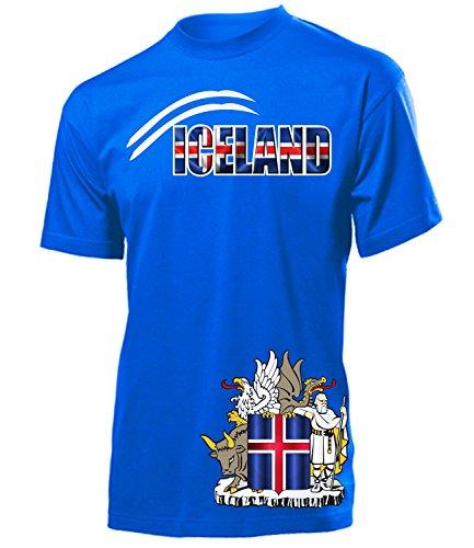 Island Iceland Fan t Shirt Artikel 6023 Fuss Ball Welt Europa Meisterschaft EM 2020 WM 2022 Team Trikot Look Flagge Fahne Männer Herren Jungen L