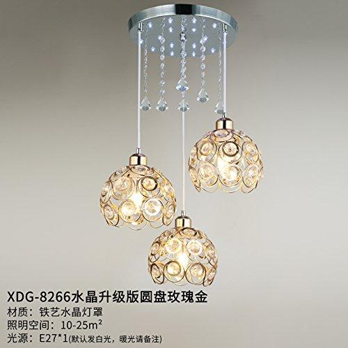 Luckyfree eenvoudige moderne hanglamp kamer bar café restaurant keuken hal lampen plafondlamp kroonluchter roze goud kristal
