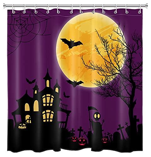 HVEST Cortina de chuveiro de Halloween para banheiro lua cheia em roxo céu noturno cortinas de chuveiro morcegos pretos voando ao redor do castelo cortina de banheiro tecido à prova d'água decorações de banheiro, 188 cm L x 198 cm A