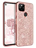 """BENTOBEN Google Pixel 4a 5G Case [FIT 5G Version ONLY], Glitter Bling Slim Fit Shockproof Protective Hybrid Hard PC Soft TPU Bumper Girly Women Phone Covers for Google Pixel 4a 5G 6.2"""" 2020, Rose Gold"""