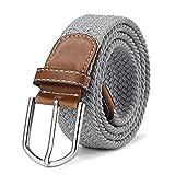 DonDon Cinturón trenzado extensible y elástico para hombres y mujeres de 100 cm a 130 cm de longitud gris claro