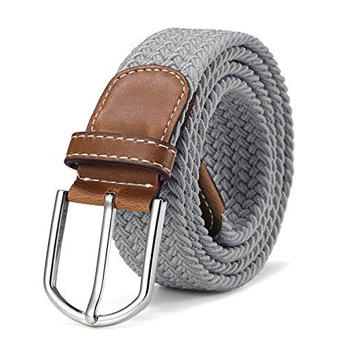 Stoffgürtel Stretchgürtel geflochten und elastisch Gürtel für Damen und Herren Länge 100 cm bis 130 cm hellgrau
